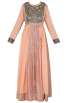 Peach and Black Block Printed and Embroidered Anarkali Set