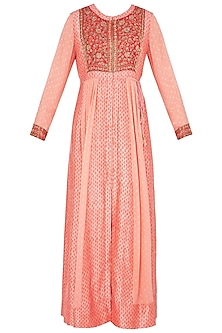 Red and Peach Block Printed and Embroidered Anarkali Set by Shyam Narayan Prasad