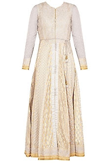 Steel Grey Embroidered Anarkali Set