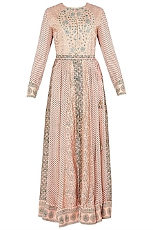Peach and Green Block Printed and Embroidered Anarkali Set