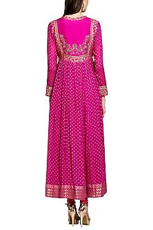 Dark Pink Embroidered Anarkali Set