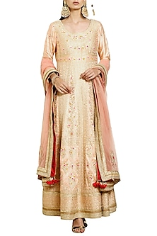 Neutral Peach Embroidered Anarkali Set
