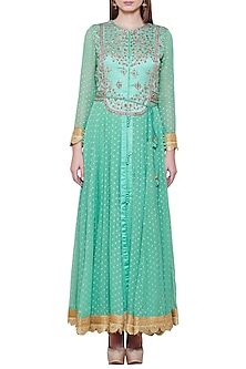 Sea Green Embroidered Anarkali Set