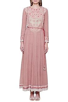 Powder Pink Embroidered Anarkali Set