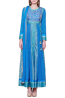 Emerald Blue Embroidered Anarkali Set