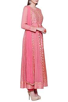Coral Pink Embroidered Anarkali Set