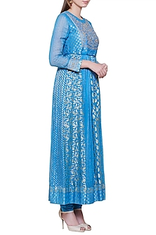 Smoke Blue Embroidered Anarkali Set