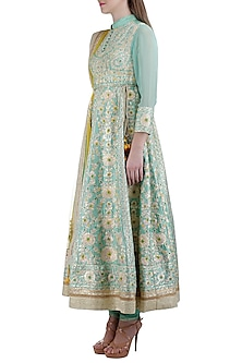 Artic Blue Embroidered Kurta Set