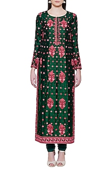Emerald Green and Pink Embroidered Kurta Set