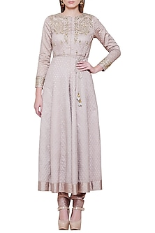 Grey Embroidered Kurta with Pants