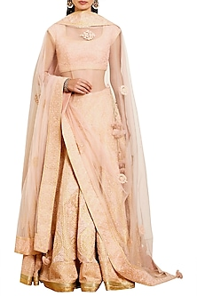 Peach Embroidered Lehenga Set by Shyam Narayan Prasad