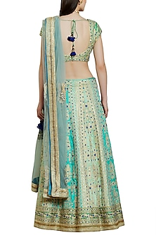Blue and Green Embroidered Lehenga Set