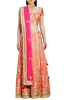Coral and Pink Embroidered Lehenga Set by Shyam Narayan Prasad