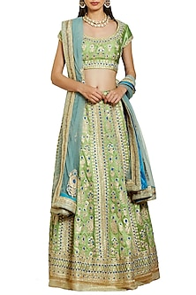Green and Blue Embroidered Lehenga Set
