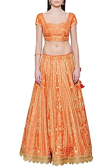 Emerald Orange Embroidered Lehenga Set
