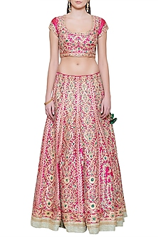 Emerald Pink and Green Embroidered Lehenga Set