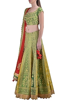 Green Embroidered Lehenga Set