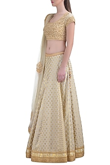 Off White Embroidered Lehenga Set