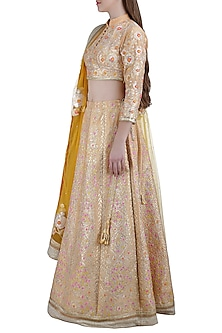 Peach Embroidered Silk Lehenga Set