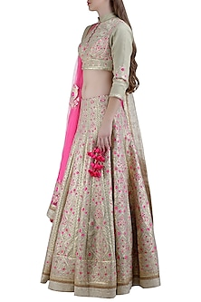 Sage Green Embroidered Lehenga Set by Shyam Narayan Prasad