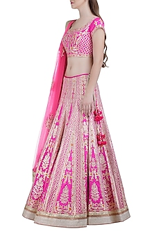Pink Embroidered Silk Lehenga Set by Shyam Narayan Prasad