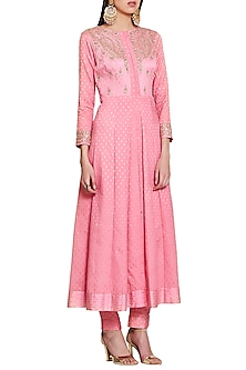 Pink Embroidered Jacket Kurta with Trousers