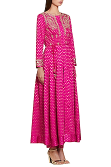 Magenta Embroidered Jacket Kurta with Trousers