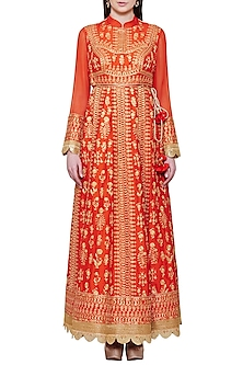 Emerald Red Embroidered Anarkali Set