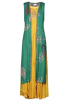 Yellow Embroidered Anarkali Gown with Teal Printed Jacket