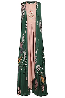 Pink Embroidered Anarkali Gown with Forest Green Printed Jacket