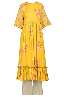 Mustard Printed and Embellished Ruffles Kurta with Grey Palazzo Pants