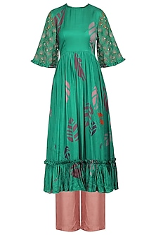 Teal Printed and Embellished Ruffles Kurta with Pink Palazzo Pants
