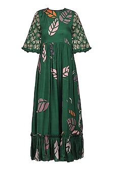 Forest Green Printed and Embellished Ruffles Maxi Dress