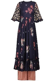 Navy Blue Printed and Embellished Ruffles Kurta with Pink Palazzo Pants