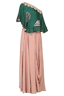 Forest Green One Shoulder Applique Embroidered Cape with Pink Drape Skirt