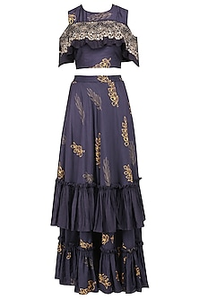 Navy Blue Cold Shoulder Embroidered Crop Top with Tiered Lehenga Skirt