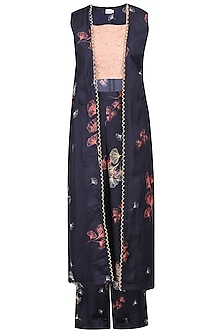 Navy Blue Printed and Embellished Jacket with Crop Top and Palazzo Pants