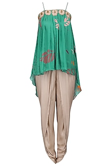 Green Embroidered Pleated Top with Pink Dhoti Pants