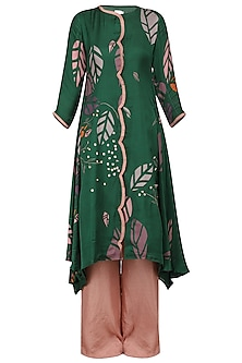 Green Asymmetrical Embroidered Kurta with Pink Palazzo Pants
