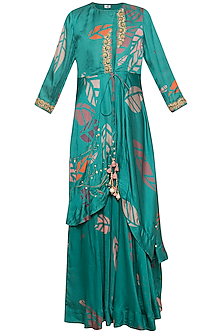 Teal green embroidered printed gown with jacket
