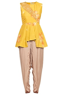Yellow embroidered peplum top with grey dhoti pants