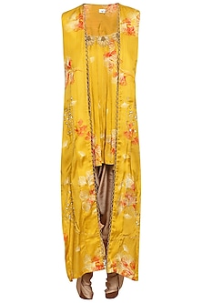 Yellow embroidered jacket with kurta and grey dhoti pants