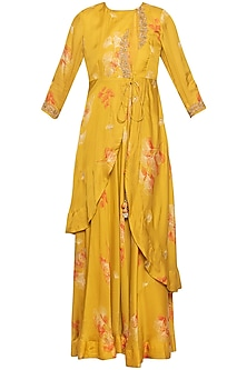 Yellow embroidered printed gown with jacket