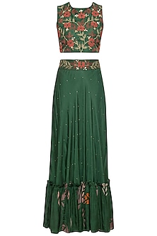 Green embroidered crop top with skirt