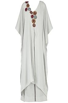 Light Grey Embroidered Drape Jumpsuit by Suman Nathwani