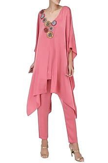 Onion Pink Embroidered Kaftan Style Cape and Trouser Set by Suman Nathwani
