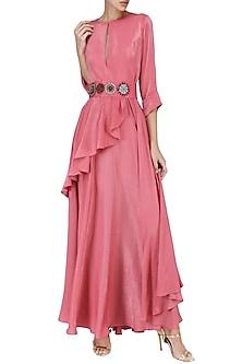 Onion Pink Embroidered Drape Maxi Dress by Suman Nathwani
