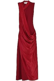 Deep Red Cowl Drape Maxi Dress