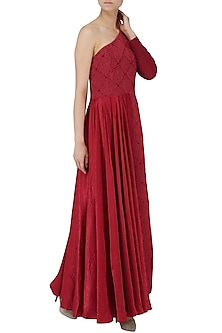 Deep Red Embroidered One Shoulder Maxi Dress by Suman Nathwani