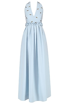 Ice Blue Embroidered Halter Maxi Dress